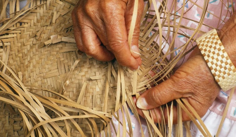Handmaking a craft with natural materials