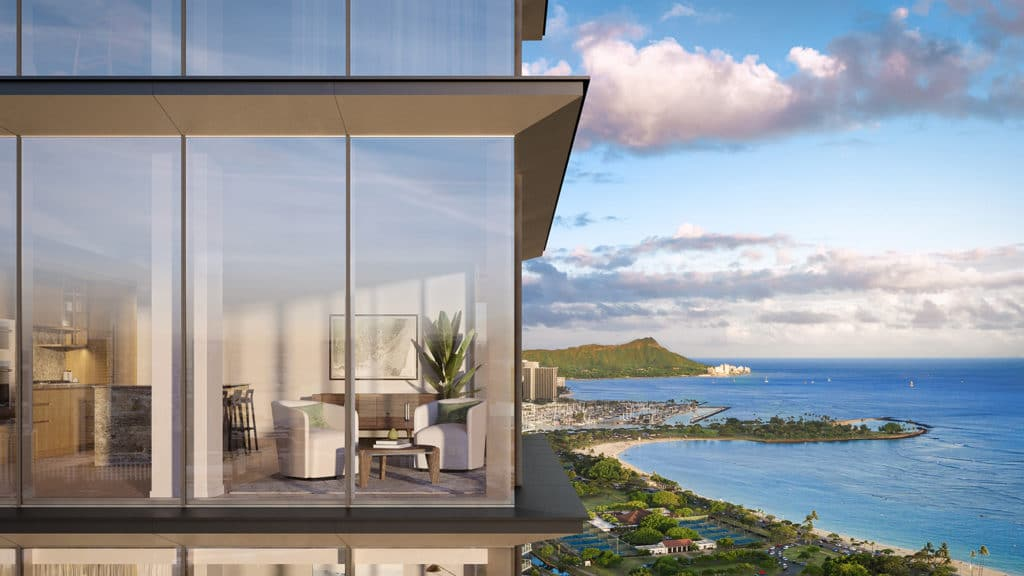 Superman view of residence living room and Diamond Head ocean view