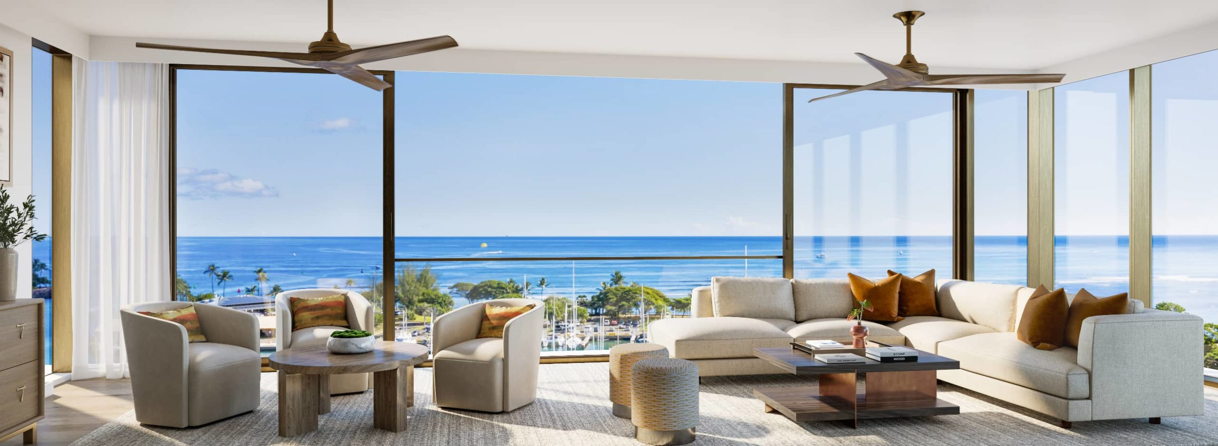 Open air living room with ocean front view at Victoria Place condominium